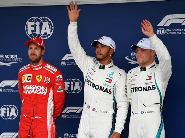 Sebastian Vettel, Polesetter Lewis Hamilton und Valtteri Bottas in Brasilien